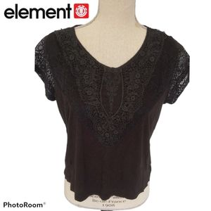Element Black Lace Embroidered Top, Small